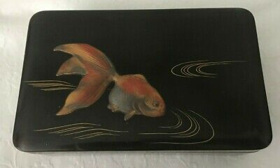 Museum Quality 19Th-20Th Century Fish Design Japanese Signed Wood Antique Box