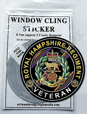 ROYAL HAMPSHIRE REGIMENT, VETERAN WINDOW CLING STICKER  8.7cm Diameter