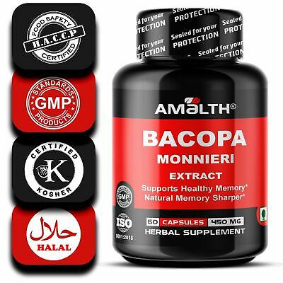 Bacopa Monnieri Bacoside Extract 450mg Capsules BOOSTS BRAIN FUNCTIONS