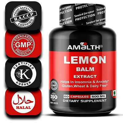Lemon Balm Extract REDUCE STRESS 500 mg Capsules SUPPORTS GOOD SLEEP