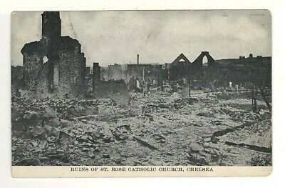 1908 PC:Ruins of St. Rose Catholic Church, Chelsea, MA Mailed 10 Days After Fire