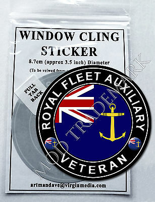 ROYAL FLEET AUXILIARY - VETERAN, WINDOW CLING STICKER  8.7cm Diameter