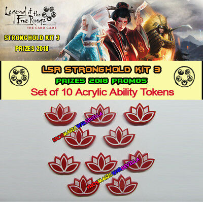 LEGEND OF THE FIVE RINGS L5R - Set 10 Acrylic Ability Tokens - 2018 Stronghold 3