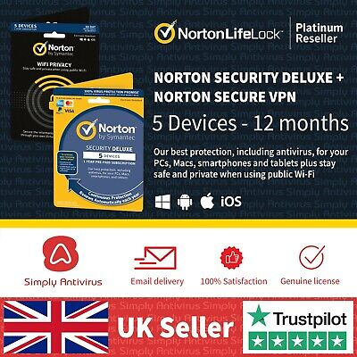 Norton Security DELUXE + Norton Secure VPN 2020 5 Devices 1 Year  Email Delivery
