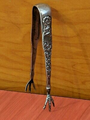 Vintage Ornate Sterling Silver Claw Sugar Tongs by Gorham Whiting Co JE Caldwell