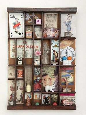 Cabinet of Curiosities in Vintage Letterpress Printers Tray Drawer - Wall Art