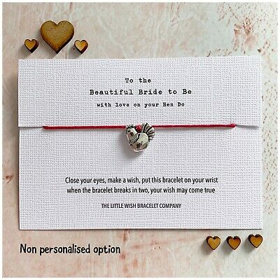 Bride to Be on your Hen Party Wish Bracelet & Card Weekend / Do / Night Favour