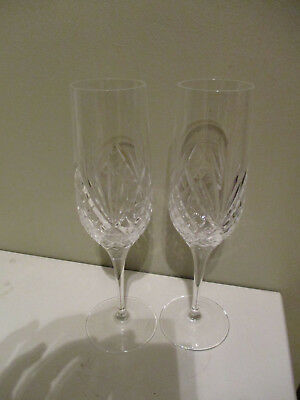 Pair Royal Doulton Crystal Isabelle Pattern Cut Champagne Glasses Flutes signed