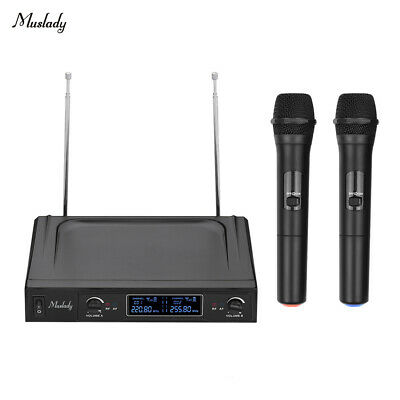 Professional Wireless Microphone System Dual Handheld 2 Mic & 1 Receiver P0B3