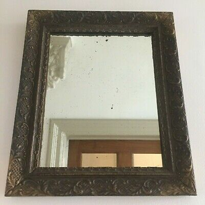 Antique Distressed Wooden Wall Mirror Original Foxed Patinated Glass 38cm m209