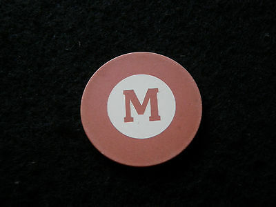 Pink Antique Poker Chip Letter M Clay Vintage Rare Old Gambling Game Gift