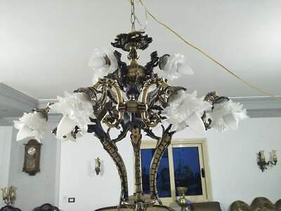 ANTIQUE Exquisite French Neo Classic Chandelier 8 Bronze Patina Sirens