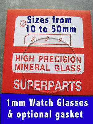 WATCH GLASS 1mm Thick Flat Crystal, Optional GASKET, Best Quality, UK SELLER