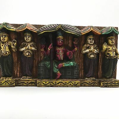 """Hand-carved India Colorful Decorative Wood Wall Hanging Panel Plaque 5.6"""""""