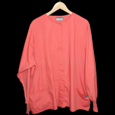 0460d35c63e Coral Plus Size Scrub Jacket 2X UA Butter Soft Scrubs Long Sleeve Snap  Closures