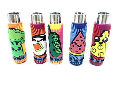 5x Clipper Refillable Lighters With Pop Leaves Rubber Cover Collection