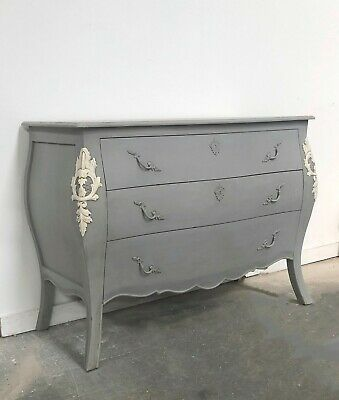 French Style Louis Bombe Chest Of Drawers Grey Shabby Chic Hand Made