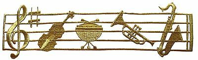 2382 Music Staff,Note,Violin,Trumpet,Saxophone Embroidery Iron On Applique Patch