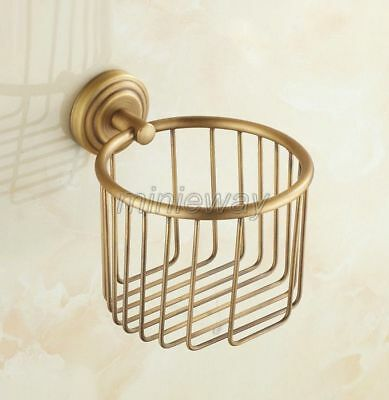 Antique Brass Wall Mounted Bathroom Toilet Paper Roll Holder Basket mba073