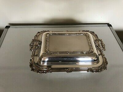 Stunning 2 Handled Silver Plated Rectangular Shaped Lidded Entree Dish(Sped 10B)