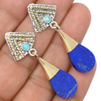 Gemstone Two Tone Fine Jewelry Azurite 925 Sterling Silver Earrings Jewelry Ae41386 85l