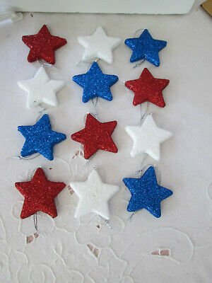 """12- 2""""  Patriotic Red, White & Blue Flat Glitter Star Ornaments-4th of July, New"""