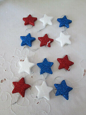 """12- 1.5""""  Patriotic Red, White & Blue Flat Glitter Star Ornaments-4th of July"""
