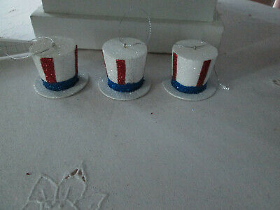 """3- 1.5""""  Patriotic Red & White & Blue Glitter Hat Ornaments-4th of July, New"""