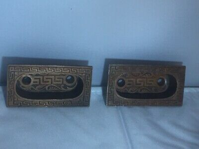 Pair of Antique Window Sash Pulls Greek Ladder (12 available)