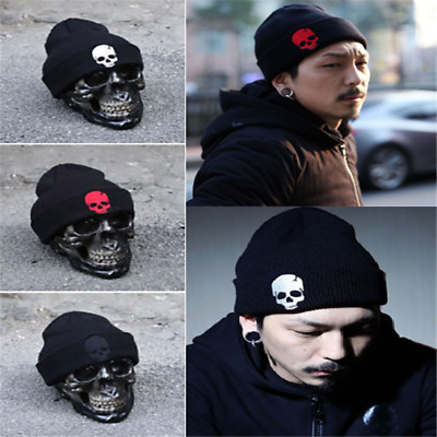 accb00be087fd Skull Punk Men Women Knit Baggy Hip Hop Beanie Hat Winter Warm Ski Knitted  Cap