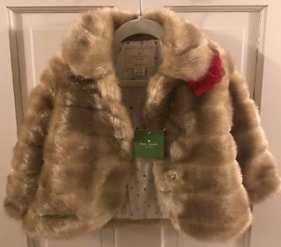 KATE SPADE New York BLONDE FAUX MINK FUR COAT Toddler 24 months NWT Great Gift