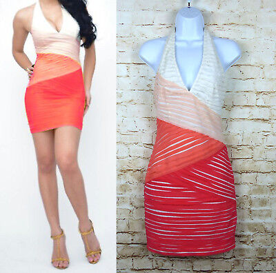 Bebe Dress Tiered Bandage Bodycon Dress Coral Orange Halter Top Club Womens Sz S