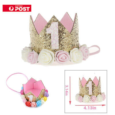 Baby Girl First Birthday Party Hat Flower Princess Crown Decor Hair Accessory AU