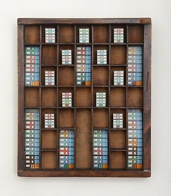 Colourful Bauhaus Themed Wall Art in a Vintage Letterpress Printers Tray Drawer