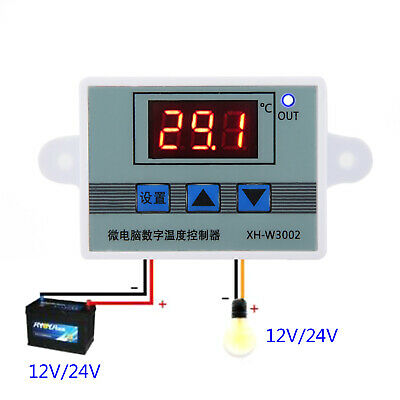220/24/12V LED Digital Temperature Controller Thermostat Switch + Probe Durable