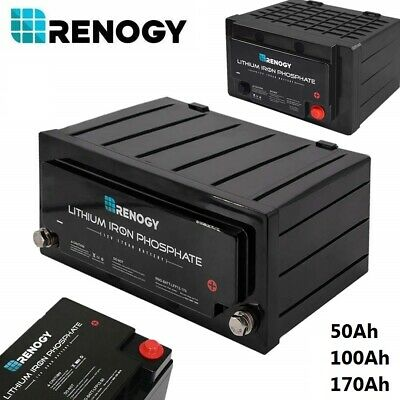 Renogy 12V Volt Lithium Iron Phosphate Deep Cycle Battery BMS Rechargeable Solar