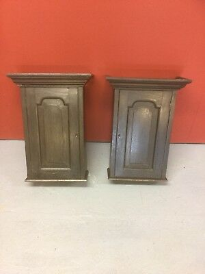 Antique Oak Pair Wall Hanging Cabinets / Shelves Sn-p