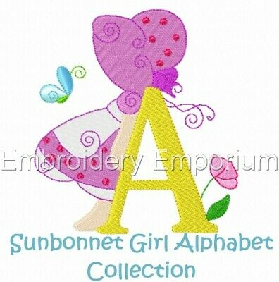 Sunbonnet Girl Alphabet Collection - Machine Embroidery Designs On Cd Or Usb