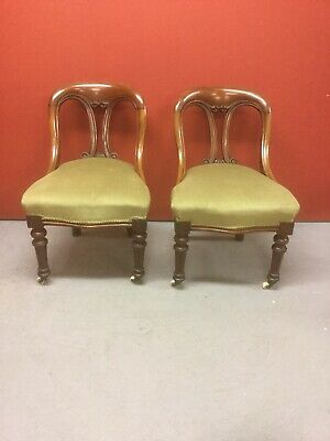 Pair Antique Library Chairs Sn-p