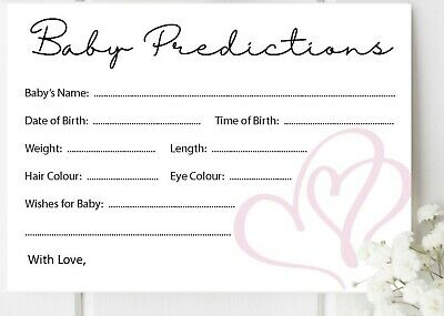 picture relating to Baby Prediction Cards Free Printable called 10Personal computers Kid SHOWER Information Playing cards Sport Prediction Occasion