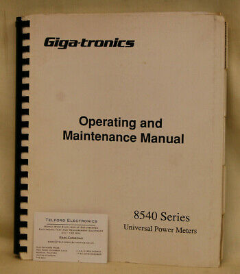 Giga-tronics 8540 Series Operating & Maintenance Manual