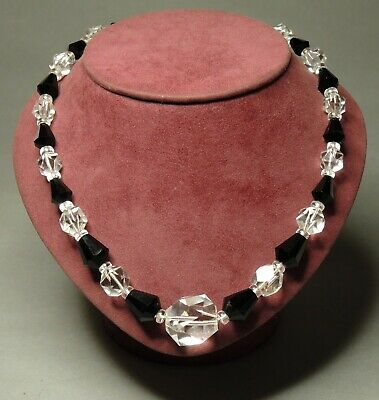 Art Deco Czech Bohemian Black Clear Faceted Crystal Glass Beads Necklace