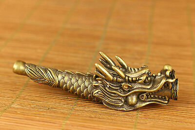 chinese old copper hand carved dragon statue pipe smoking tool