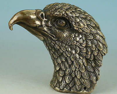 Lifelike Asian Chinese Old Bronze Hand Carved Eagle Heads Statue Collection Deco