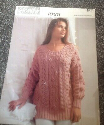 fe22d52f6 Vintage Wendy Aran Knitting Pattern Leaf And Bobble Sweater Fits Chest 32 42