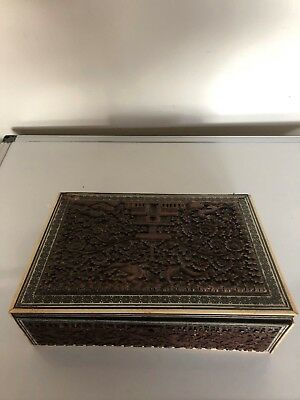 Wooden Carved Anglo Indian Writing Slope Highly Decorated