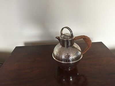 Lovely 1 Pint Silver Plated Jersey Jug With A Wicker Wrap Around Handle (Jj 66L)