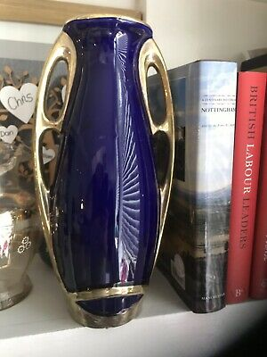 Cobalt Blue And Gold arts And Crafts Twin Handled French Vase