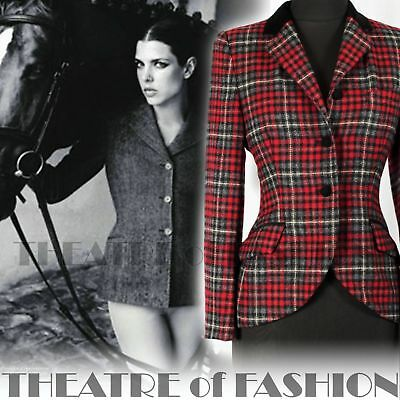 JACKET TWEED SUEDE TARTAN COAT VINTAGE LAURA ASHLEY RIDING 40s 50s VICTORIAN