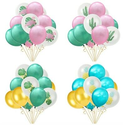 15Pcs 12inch Flamingo Pineapple Leaf Cactus Latex Balloon Party Birthday Decor